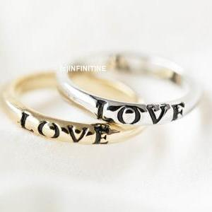black love letter ring,RN2552