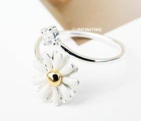 cz and daisy adjustable ring,daisy rings,jewelry, jewelry rings,anniversary ring,unique rings,cute rings,adjustable rings, stretch rings,rings for women,adjustable ring,RN2379