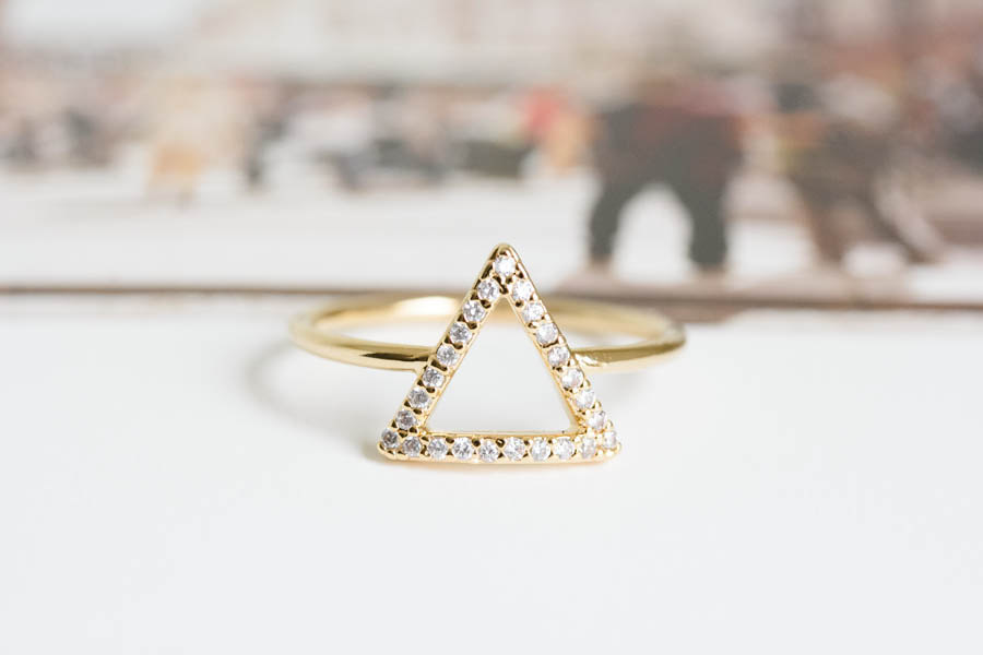 cz triangle wedding ringbridesmaid giftwedding ring With triangle wedding ring